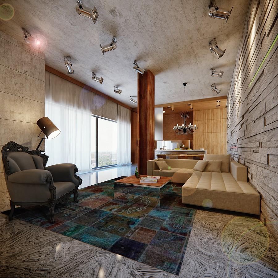 Eklektyczny salon industrial połączony z klasyką - eklektyczne wnętrza