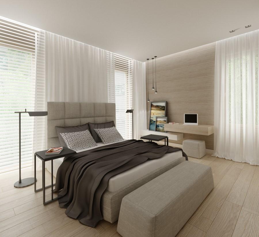 Jasna sypialnia z niewielkim biurkiem - Inspiracja ...