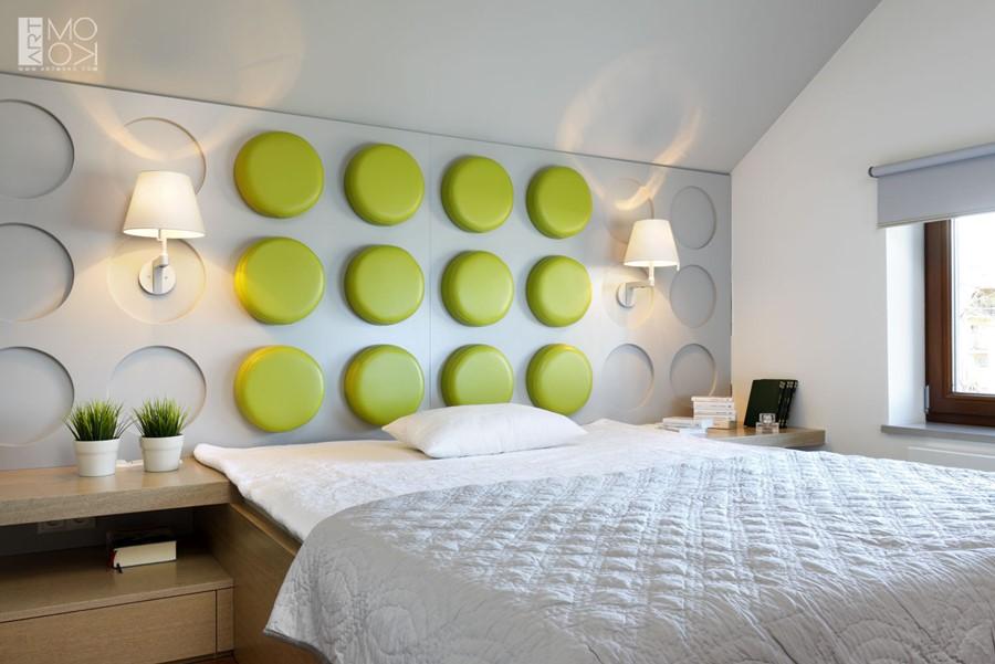 Nietuzinkowe panele ścienne w nowoczesnej sypialni