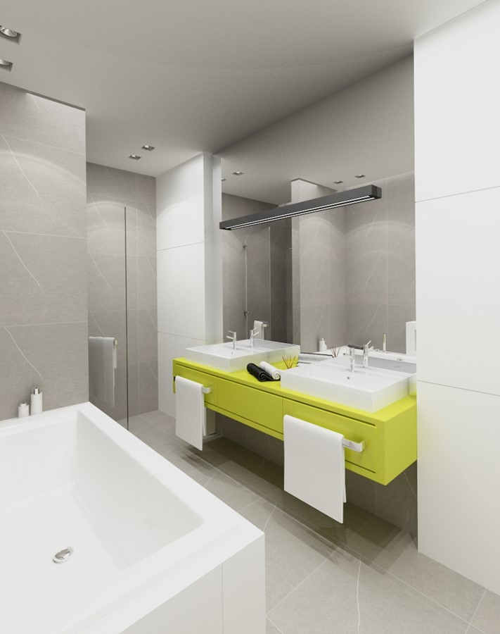 Nowoczesna łazienka z limonkowym akcentem podwójna umywalka