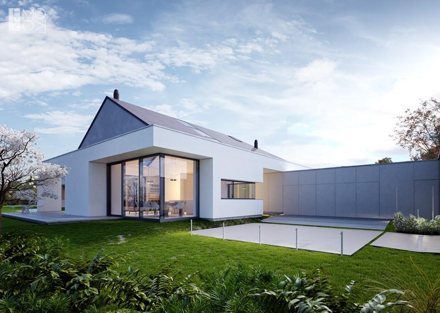Nowoczesna bryła parterowego domu z dużymi oknami