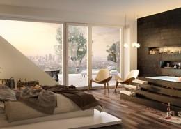 Nowoczesna sypialnia z kącikiem kąpielowym i wyjściem na taras