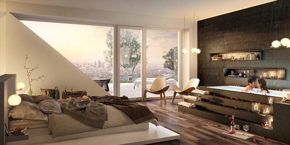 nowoczesna sypialnia z k�cikiem k�pielowym inspiracja