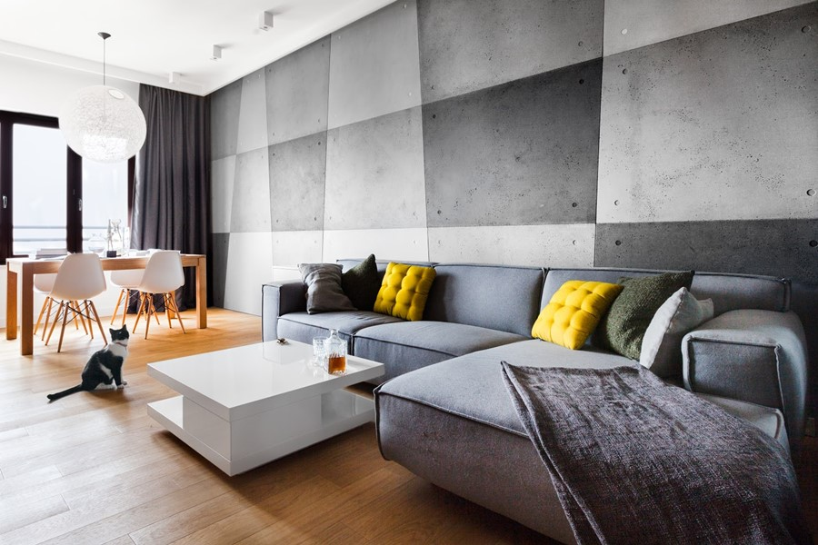Nowoczesny salon z betonem architektonicznym kuchnią i jadalnią - aranżacje pokoju dziennego