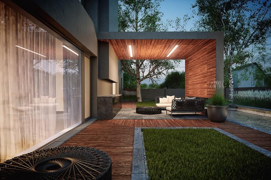 Piętrowy dom w szarościach i jasnym drewnie - Architektura, wnętrza, technologia, design ...