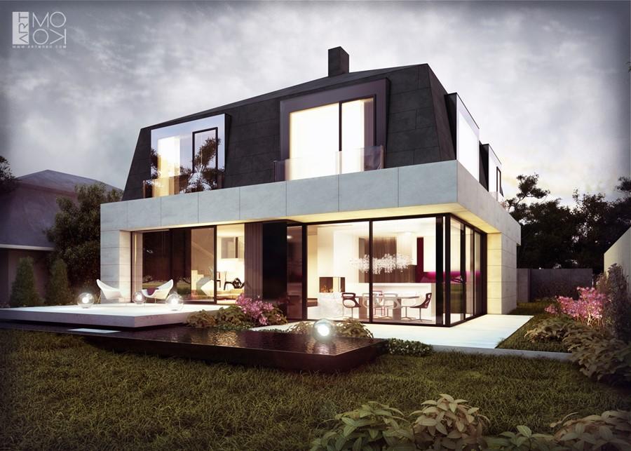 Oryginalna bryła nowoczesnego domu piętrowego