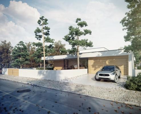 Parterowy dom z garażem w nowoczesnym stylu