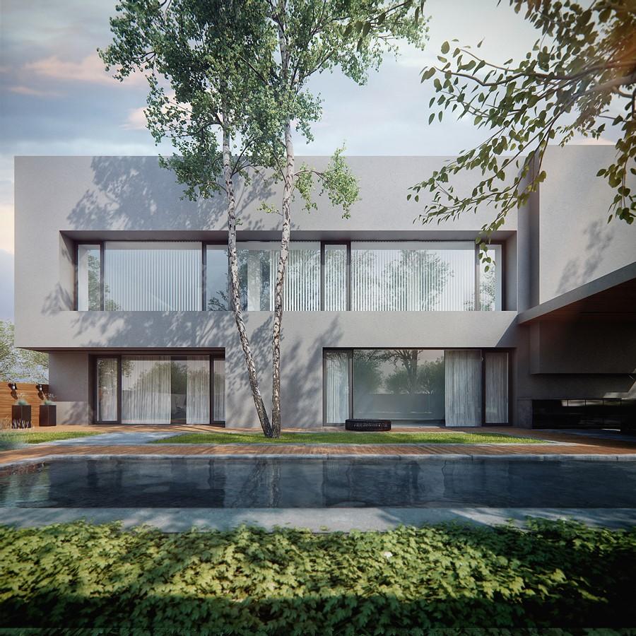 Szary piętrowy dom w nowoczesnym stylu