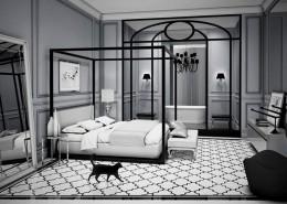 Projekt sypialni kącikiem kąpielowym modern classic