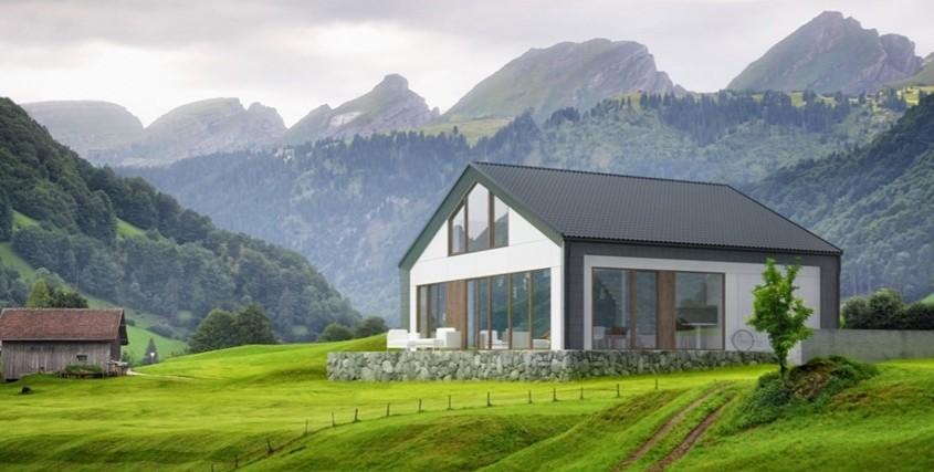 bryła pasywnego domu w krajobrazie górskim