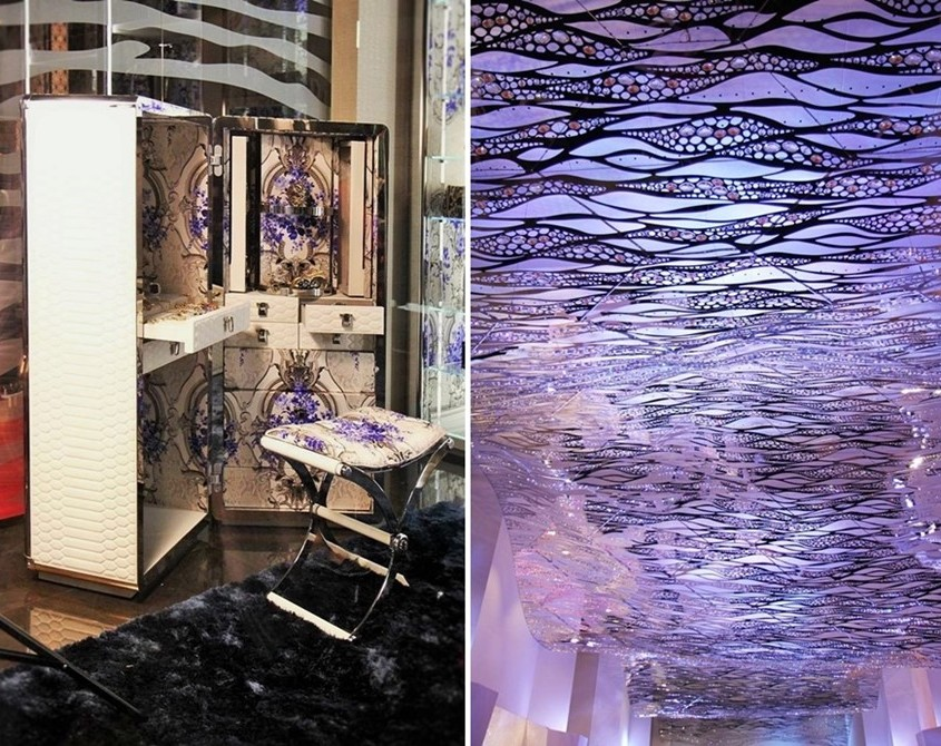 tapicerowane skórą meble, bogate faktury i taka sceneria kreowana przez światło - wg Salone del Mobile 2015