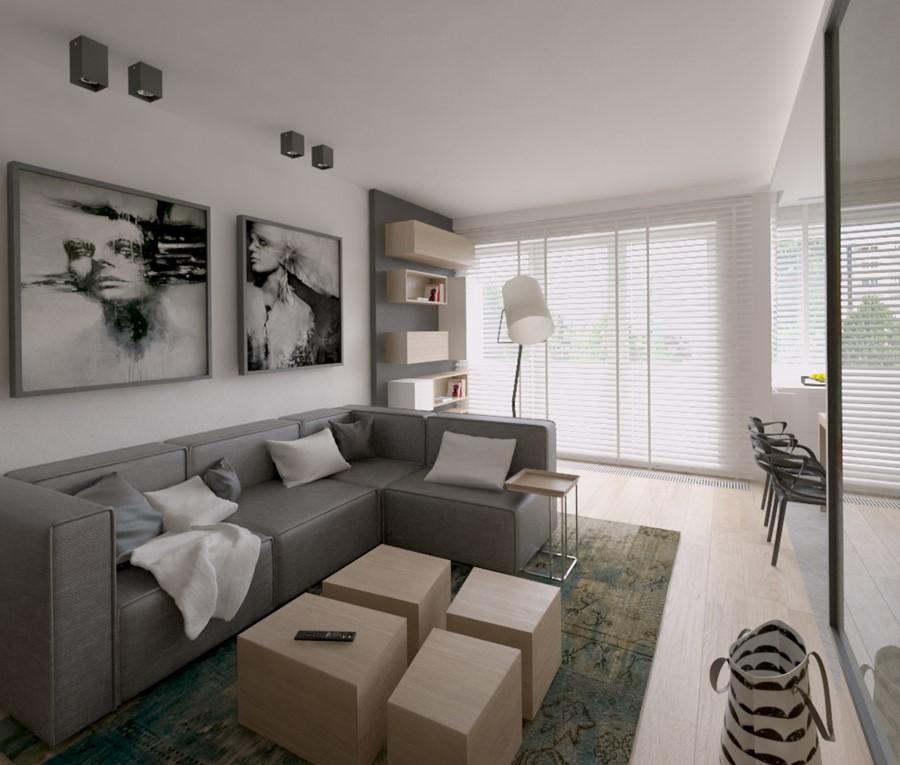 salon z kuchni w be ach i szaro ciach inspiracja homesquare. Black Bedroom Furniture Sets. Home Design Ideas