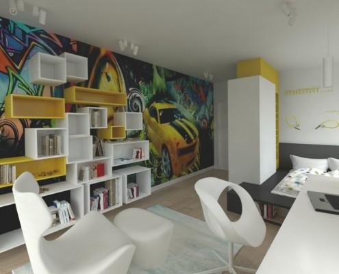 Biało-żółty pokój młodzieżowy w nowoczesnym stylu