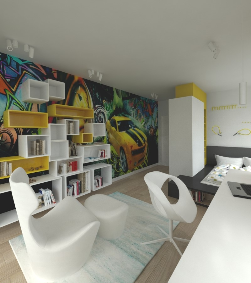 bia�oż243�ty pok243j m�odzieżowy architektura wnętrza