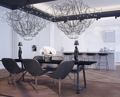 Duża kuchnia w bieli otwarta na jadalnię Studio.o
