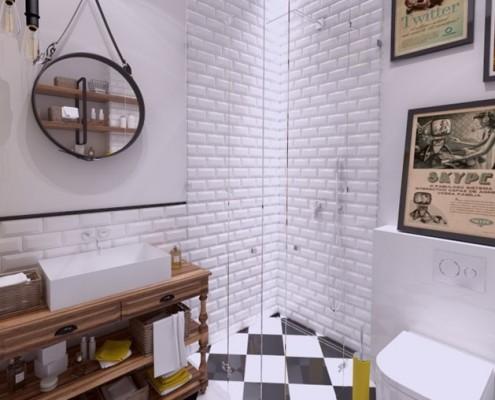 Eklektyczna łazienka z prysznicem w mieszkaniu