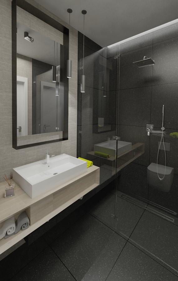 Grafitowa łazienka Z Jasnym Drewnem Architektura