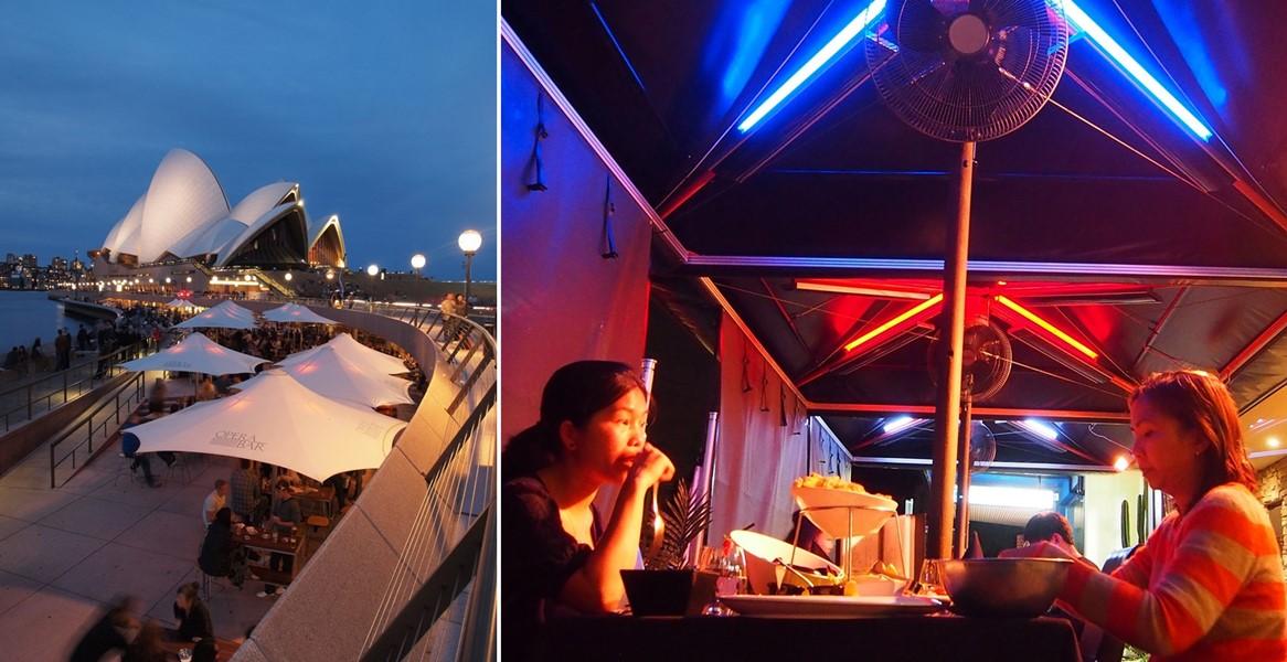 Bar przy słynnej operze w Sydney także korzysta z parasoli Heatray