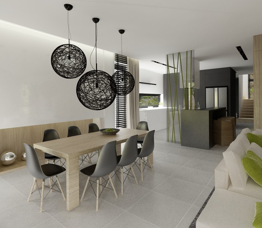 Jasna kuchnia otwarta na jadalnię i salon  Architektura