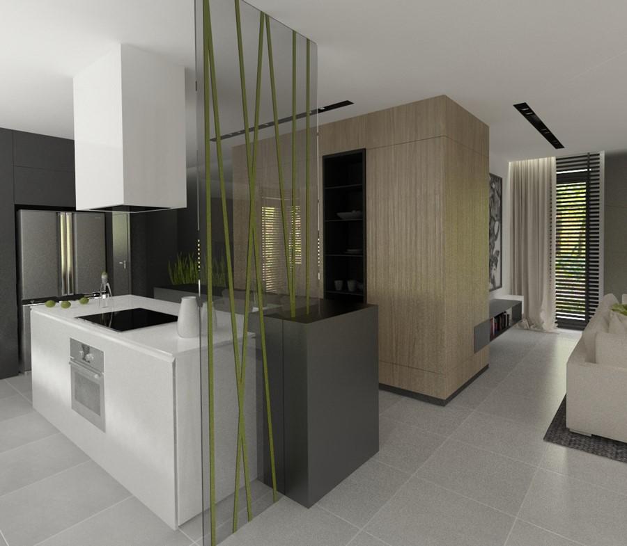Jasna kuchnia otwarta na jadalnię i salon  Architektura, wnętrza, technologi   -> Kuchnia Z Oknem Otwarta Na Salon