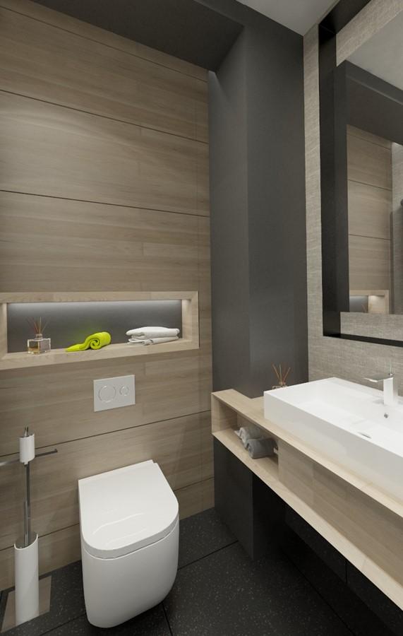 Grafitowa łazienka Z Jasnym Drewnem Inspiracja Homesquare