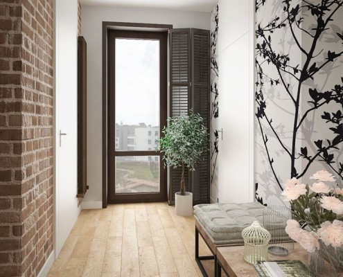 Nastrojowy korytarz w mieszkaniu ceglana ściana