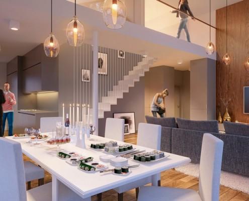 Funkcjonalne połączenie kuchni i salonu