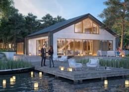 Projekt nowoczesnego domu pasywnego nad jeziorem