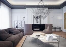 Projekt nowoczesnego salonu z odrobiną klasyki pracownia projektowa studio.o