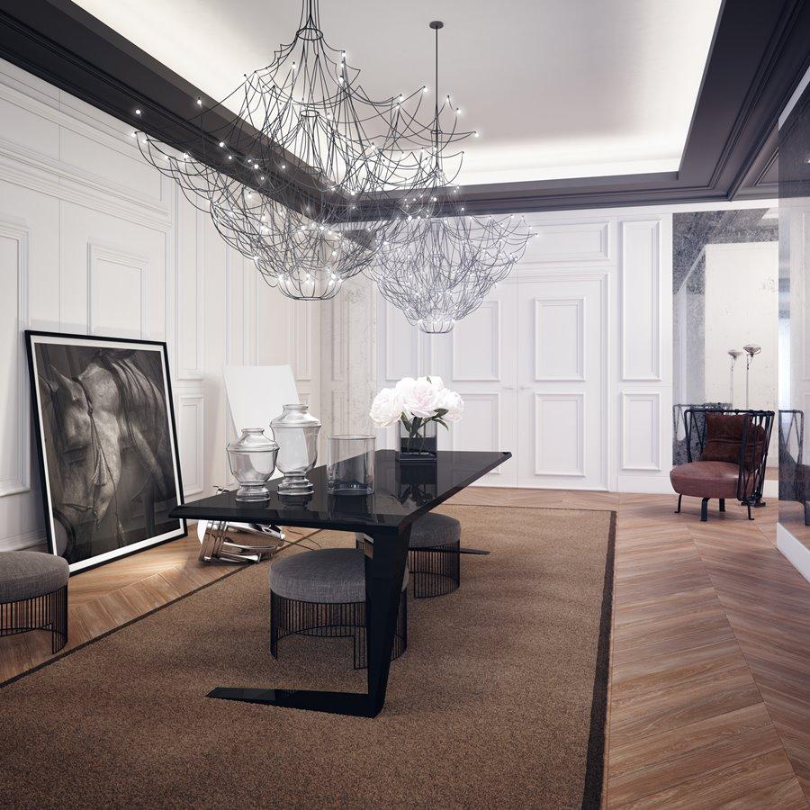 Otwarta kuchnia w bieli hola design homesquare - Przestronna Jadalnia W Stylu Modern Classic
