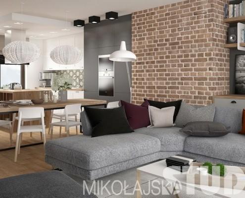 Salon połączony z kuchnią i jadalnią na piętrze Nowoczesne projekty wnętrz