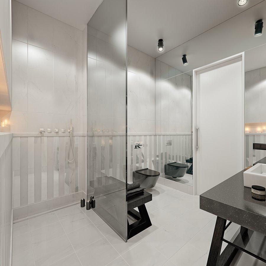 Biel i czerń w łazience z prysznicem