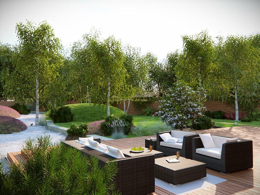 Duży taras z ogrodem pomysły i inspiracje
