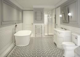 Klasyczna łazienka w bieli i szarościach Dot Design