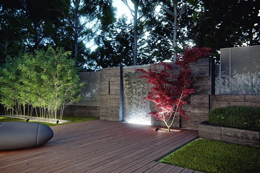 Nowoczesna kaskada ogrodowa w nowoczesnym stylu