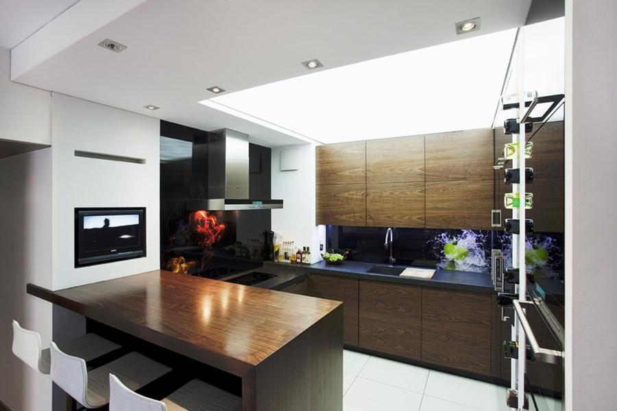 Nowoczesne mieszkanie z domowym ogrodem  Architektura, wnętrza, technologia,   -> Kuchnia Otwarta Na Salon Nowoczesna