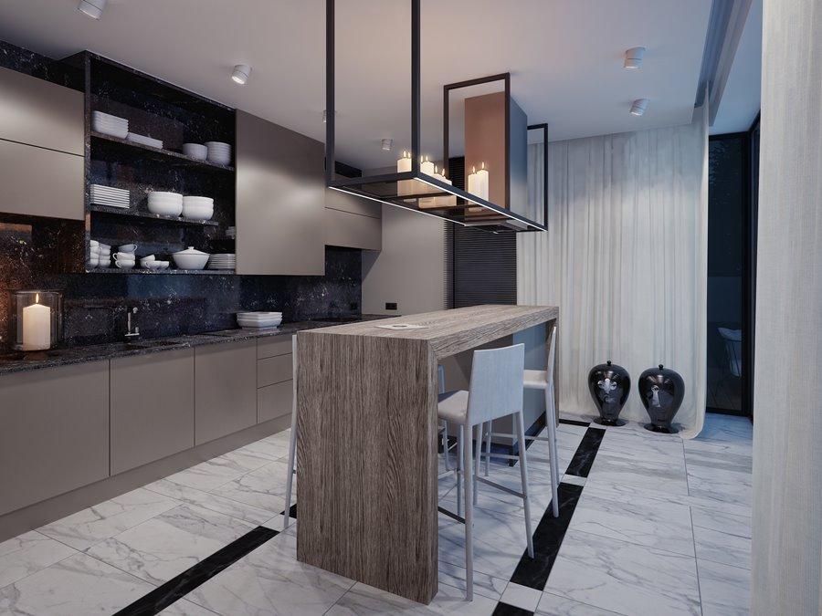 Nowoczesna kuchnia z barkiem  Architektura, wnętrza   -> Kuchnia Bialo Czarna Z Barkiem