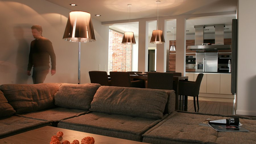 nowoczesne wnętrze salon i kuchnia architektura