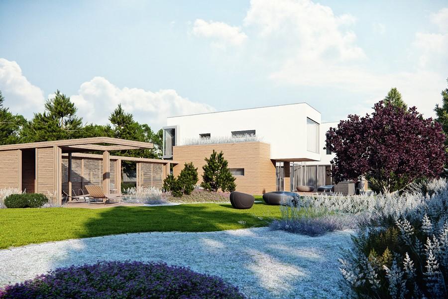 Nowoczesny dom i ogród