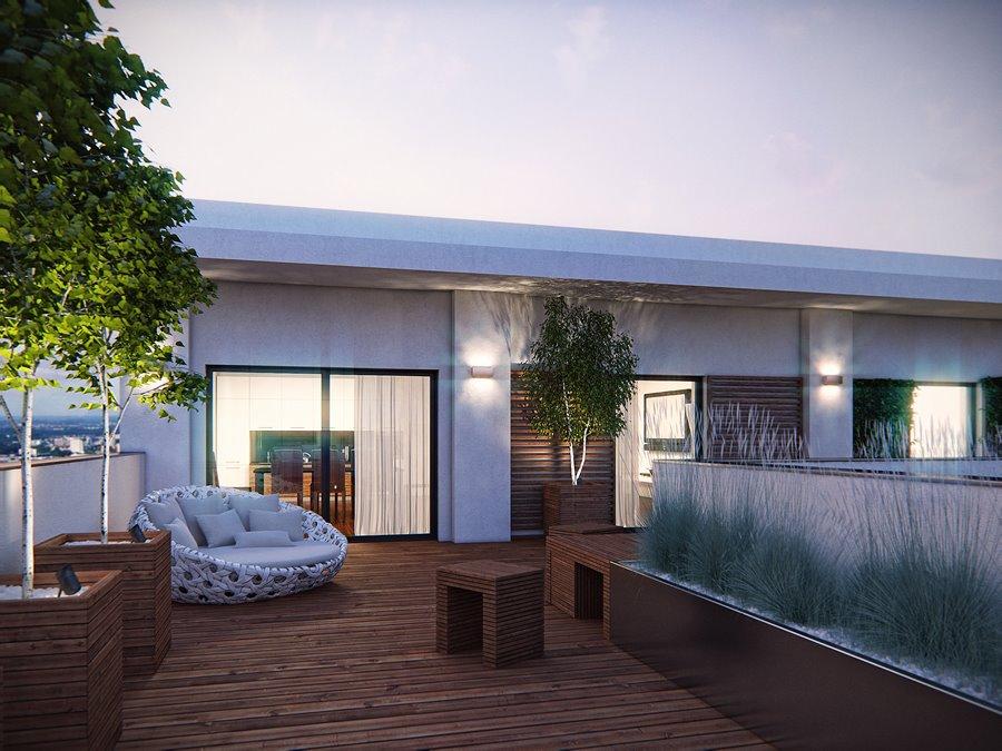 Projekt nowoczesnego tarasu w drewnie - Architektura, wnętrza, technologia, design - HomeSquare