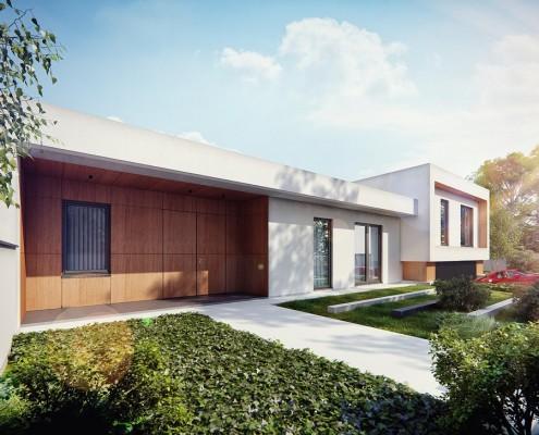 Projekt jednopoziomowego domu w bieli i drewnie Studio.O. - nowoczesne ogrody