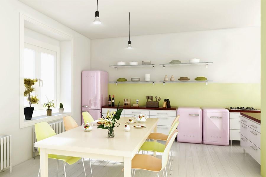 Różowe AGD w kuchni z jadalnią Smeg