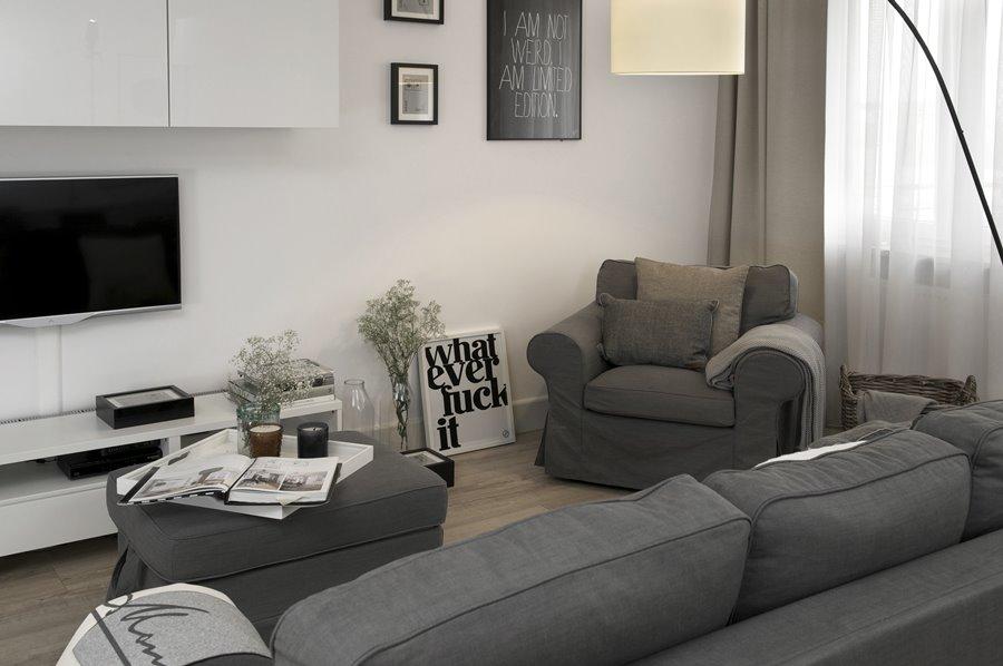 aran acja bia o szarego wn trza inspiracja homesquare. Black Bedroom Furniture Sets. Home Design Ideas