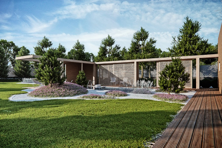 Wrzosy w ogrodzie Studio O- nowoczesny ogród