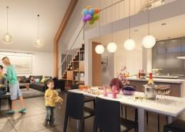 Wystrój wnętrz nowoczesnego domu kuchnia salon i jadalnia