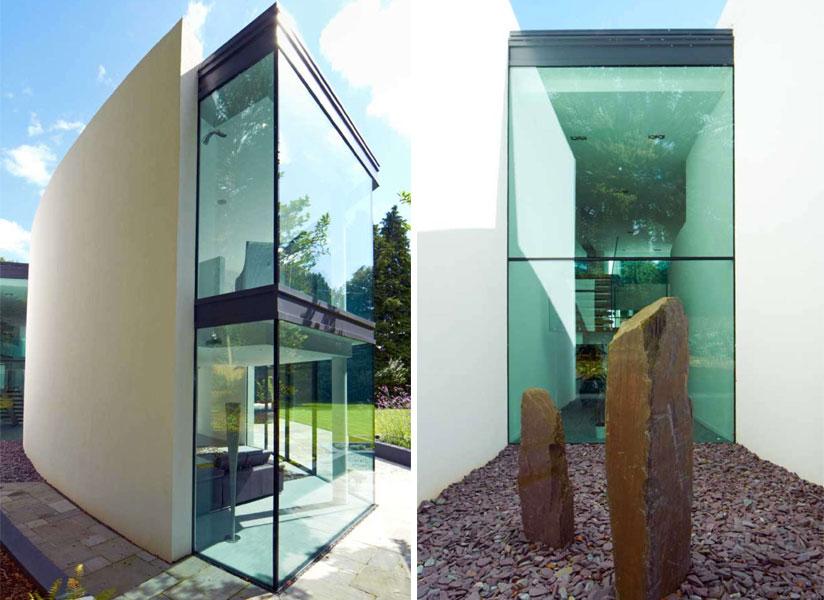 Dom w bieli Western Design Architects przeszklenia