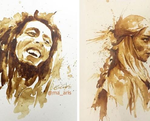 Obrazy malowane kawą Maria Aristidou malowanie kawą