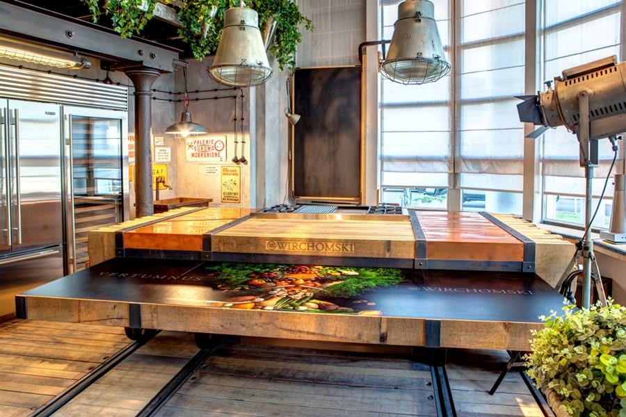 kuchnia z elementami steam punkt, Manufaktura Wirchomski, projekt Vertumnus