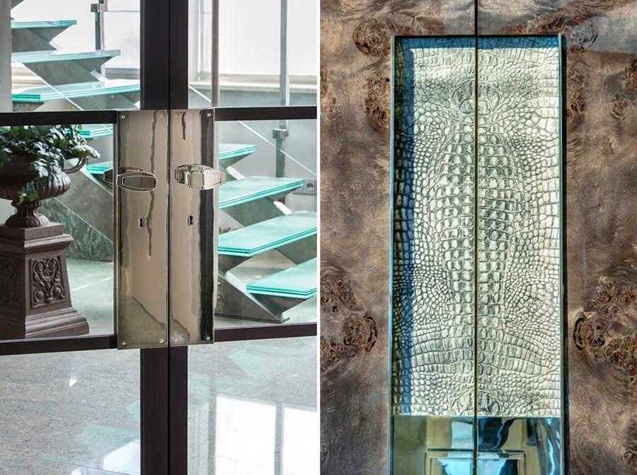 luksusowa stolarka wewnętrzna, drewno łączone z innymi materiałami