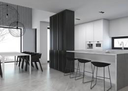 Czarno-biała kuchnia otwarta na jadalnię projekt wnętrz